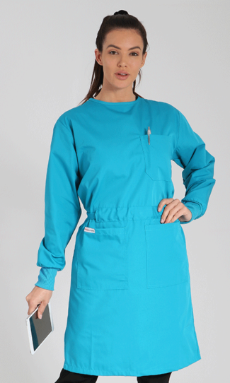 teal lab gown