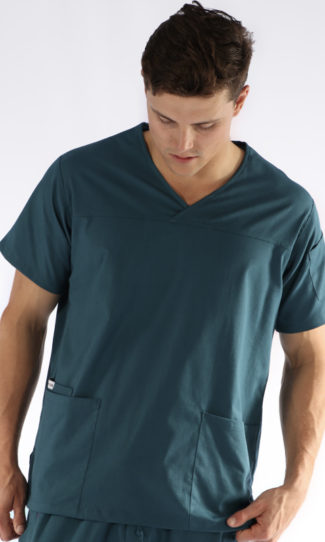 mens fit scrub top - caribbean