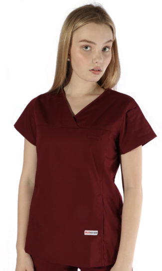womens fit solid scrub top - burgundy colour