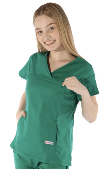 womens fit solid scrub top - hunter colour