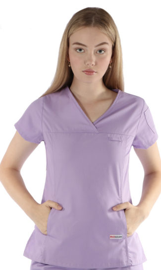 womens fit solid scrub top - lilac colour