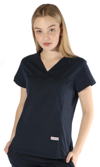 womens fit solid scrub top - navy colour