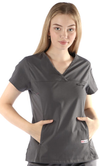womens fit solid scrub top - steel grey colour