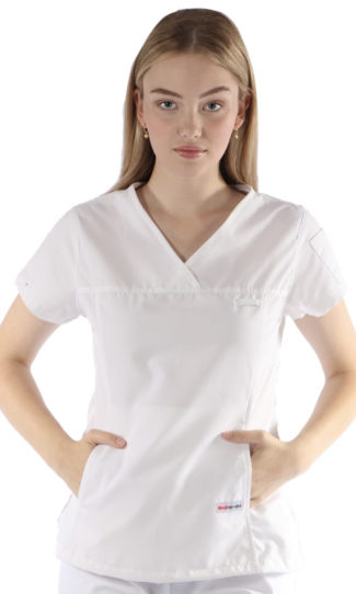 womens fit solid scrub top - white colour