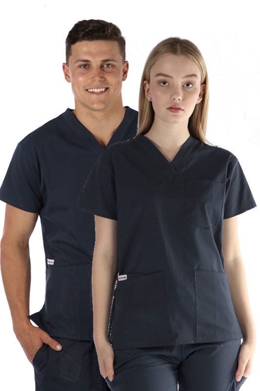 unisex-4-pocket-scrub-top-navy-coloured-scrubs