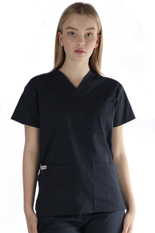 womens-unisex 4 pocket scrub top - navy colour