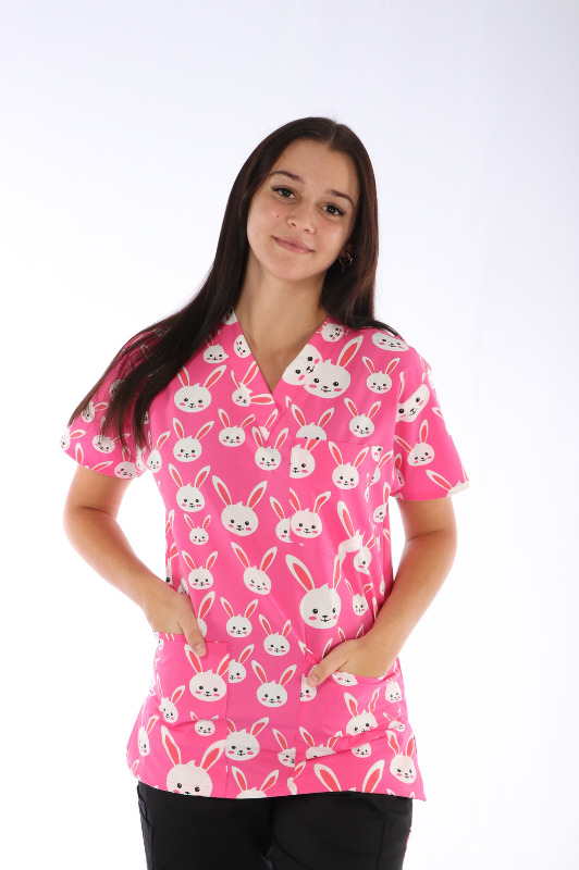 Easter Bunny Scrub Print - Unisex 4 pocket printed scrub top