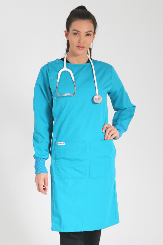 teal - side opening lab coat