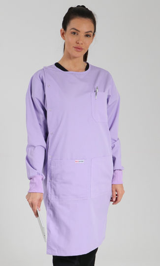 lilac - side opening lab coat