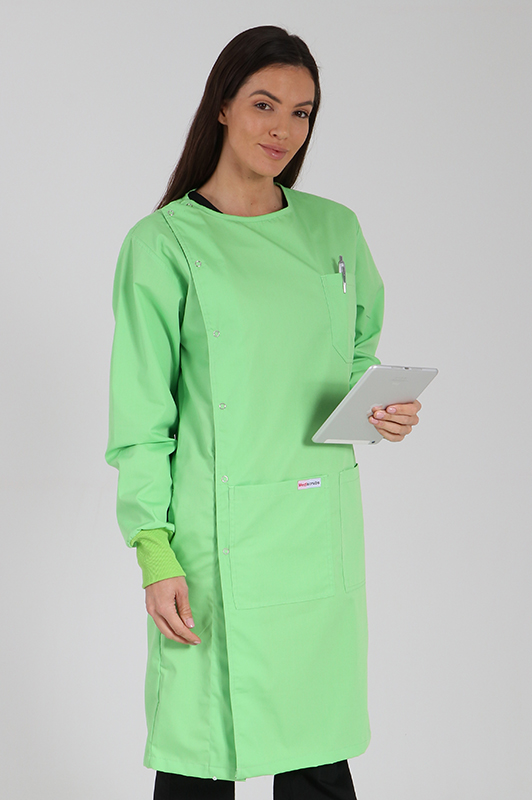 lime green - side opening lab coat