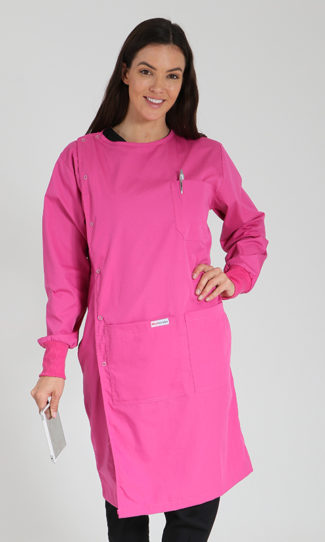 Pink - side opening lab coat