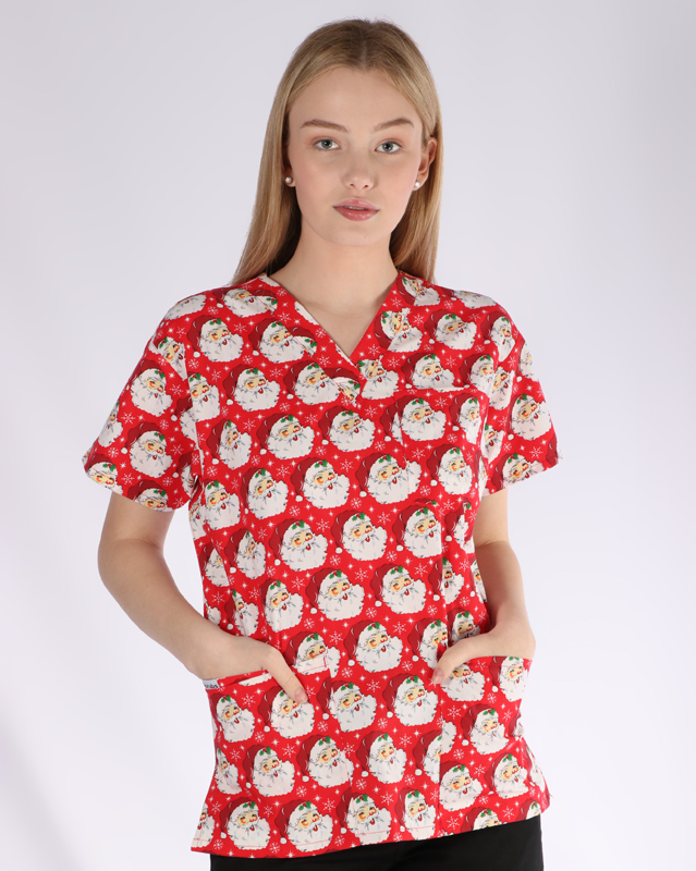 Mr Claus Christmas print - unisex 4 pocket scrub top