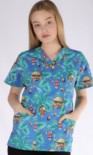 Santa's Tropical Vacation Christmas print - unisex 4 pocket scrub top