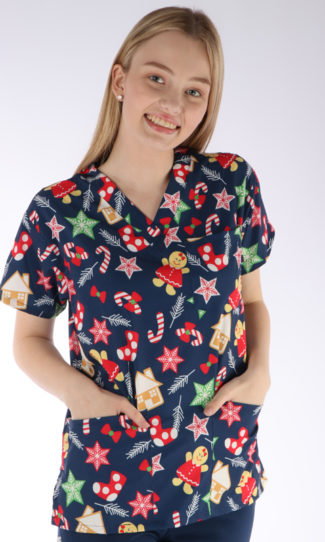 Jolly Ginger Christmas print - Scrubs Anonymous scrub top