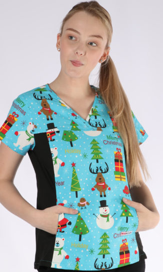 Happy Holidays Christmas print - women's fit spandex scrub top