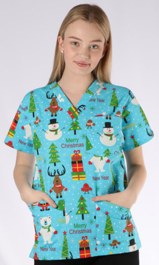 Happy Holidays Christmas print - unisex 4 pocket scrub top