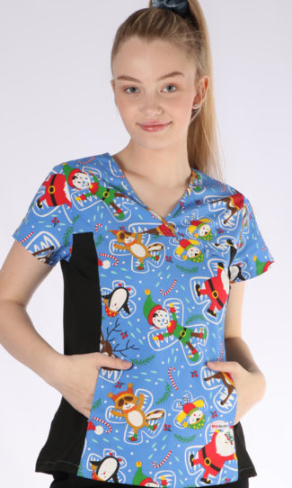 Snow Angels Christmas print - women's fit spandex scrub top