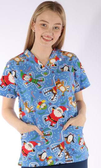 Snow Angels Christmas print - unisex 4 pocket scrub top