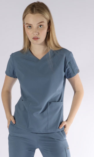 Scrubs Anonymous - Whisper collection - Scrub Top - Steel Blue