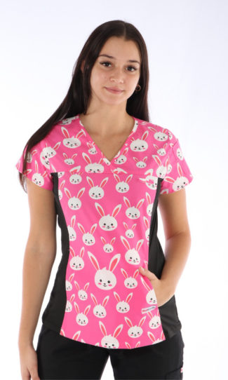 Easter Bunny Scrub Print - Women's Fit Spandex printed scrub top